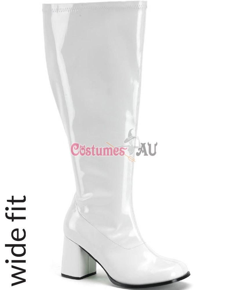 b8e77a7fcab4 Hover to zoom · Go Go White Boots ss-101 1 Ladies Go Go White Knee High ...