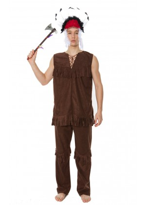 Wild West Costumes - Mens Noble Warrior Native American Indian Halloween Fancy Dress Adult Costume
