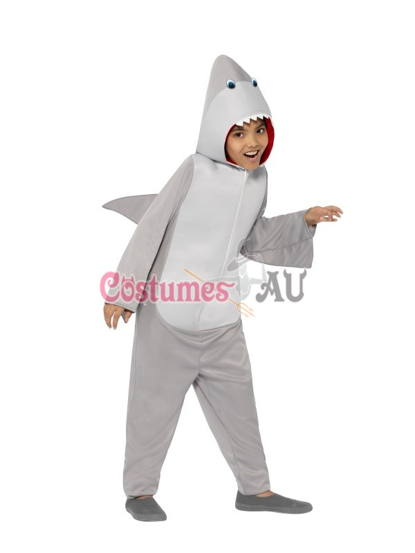 Boys Shark Costume Animal Mascot Fancy Dress Party Book Week Kids Child Bodysuit