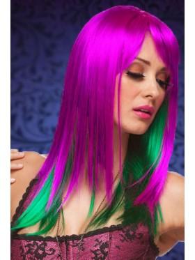 Ladies Purple Green Long Wig