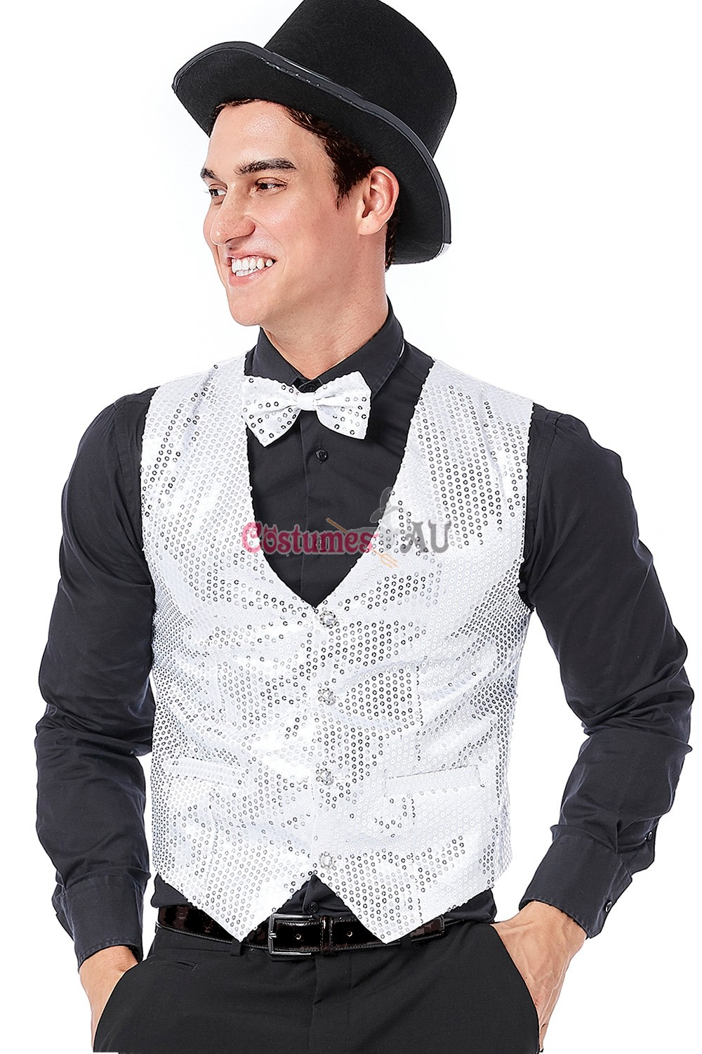 Mens Sequin Red Vest Waistcoat Dance 20s Party Show Costume Jazz Magician Top