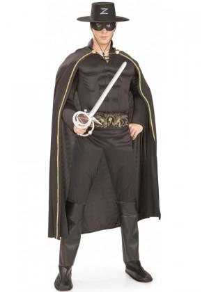 Zorro Costumes - Mens Deluxe Zorro Muscle Chest Halloween Hero Fancy Dress Adult Costume