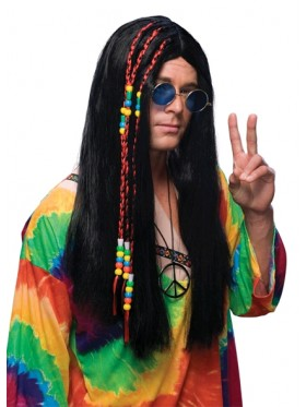 Black Long Hair Wig With Beads/Ribbons