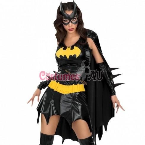 Womens Batgirl Ladies Super Hero Justice League Fancy Dress Costume Outfit