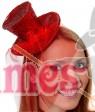 RED Fever Mini Top Hat on Clip Ladies Mini Glitter Top Hat