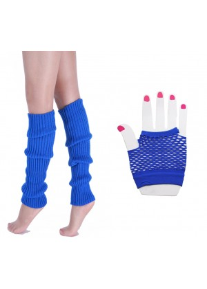 Coobey 80s Neon  Fishnet Gloves  Leg Warmers accessory set blue