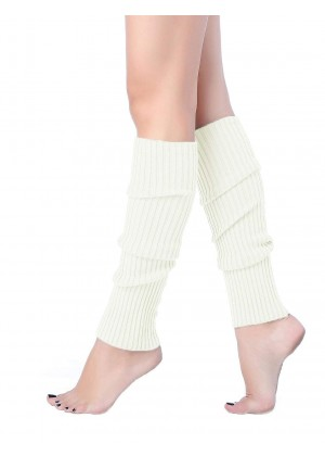 White Licensed Womens Pair of Party Legwarmers Knitted Dance 80s Costume Leg Warmers