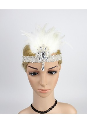 1920s Headband White Feather Vintage Bridal Great Gatsby Flapper Headpiece gangster ladies