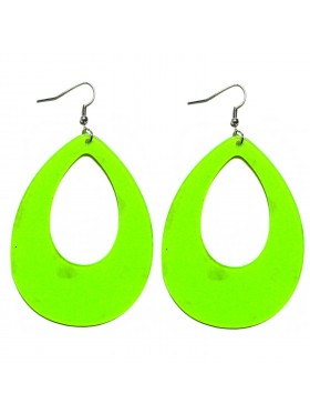 Teardrop Earrings Neon 80s Retro Rock Star Jewellery Ladies Womens Fancy Dress Costume Accessory
