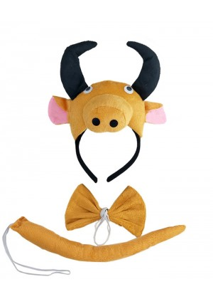 Bull Headband Bow Tail Set Kids Animal Farm Zoo Party Performance Headpiece Fancy Dress Costume Kit Accessory