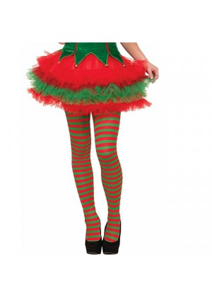 Elf Tights Pantyhose Striped Red Green Christmas Xmas Helper Fancy Dress Costume Stockings