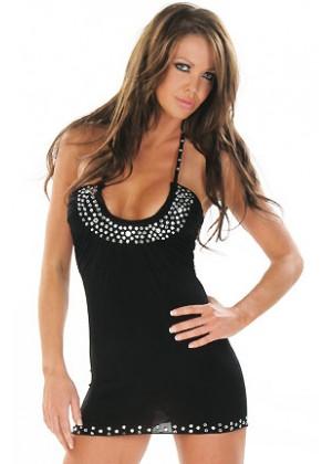 Hot Black Rhinestones mini dress with g string