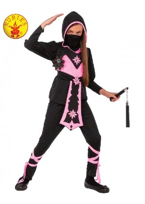Kids Ninja Assassin Pink Warrior Costume Girl Japanese Deadly Halloween Black Fancy Dress