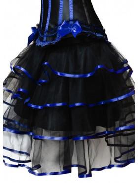 Black with blue Satin skirt