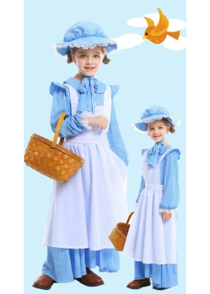 Victorian Maid Miss Historical Pioneer Colonial Girls Kids Olden Days Book Week Costume