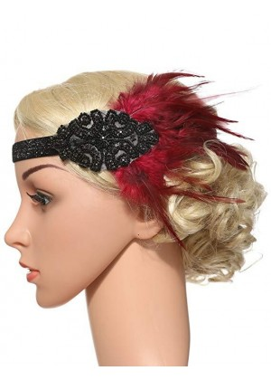 1920s Headband Red Feather Vintage Bridal Great Gatsby Flapper Headpiece gangster ladies