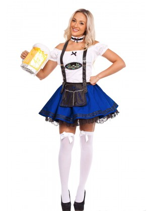 Oktoberfest Beer Maid Costume Blue