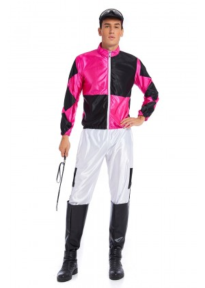 Full Set Hot Pink Black Jockey Horse Racing Rider Mens Uniform Fancy Dress Costume Outfit Hat