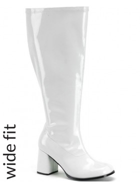 Ladies Go Go White Knee High Wid fit Adult Womens Boots Shoes Hippy 60 70 Disco Costume Accessories