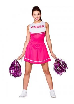 Pink Ladies Cheerleader School Girl Uniform Fancy Dress Costume