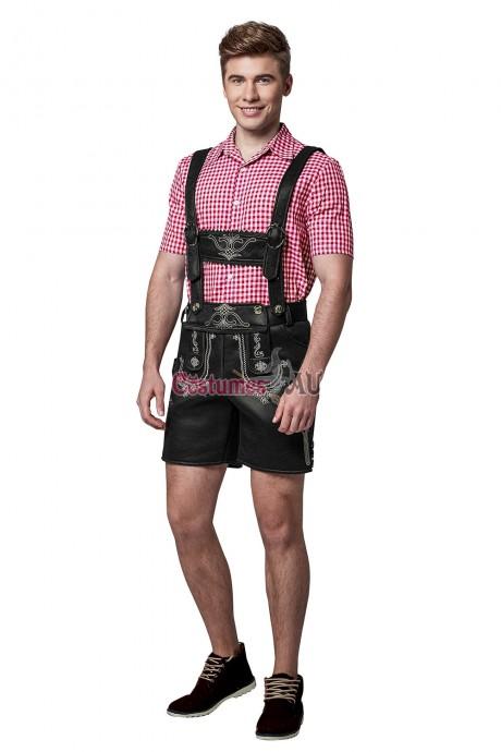 Mens Lederhosen Oktoberfest German Fancy Dress Costume PU Leather