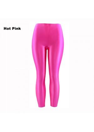 Hot Pink 80s Shiny Neon Costume Leggings Stretch Fluro Metallic Pants Gym Yoga Dance