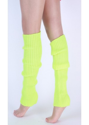Neon Green Licensed Womens Pair of Party Legwarmers Knitted Dance 80s Costume Leg Warmers