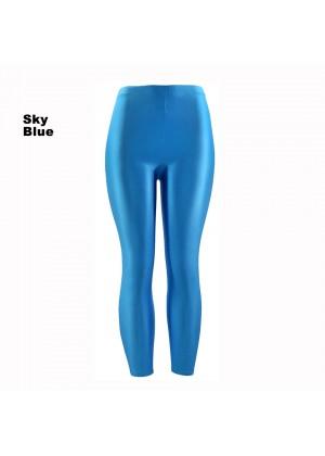 Sky Blue 80s Shiny Neon Costume Leggings Stretch Fluro Metallic Pants Gym Yoga Dance