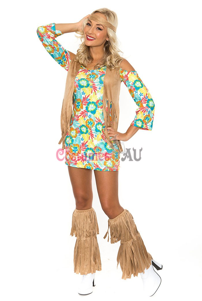 Ladies 60s 70s Retro Hippie Go Go Girl Disco Dancer Groovy Costume Hens Party Fancy Dress  sc 1 st  Costumes AU : groovy costumes  - Germanpascual.Com