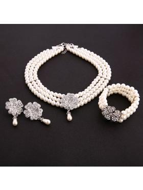 1920s Necklace Bracelet Earings Set Vintage Bridal Great Gatsby Flapper gangster ladies