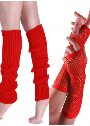 Coobey 80s Neon  Fishnet Gloves  Leg Warmers accessory set Red