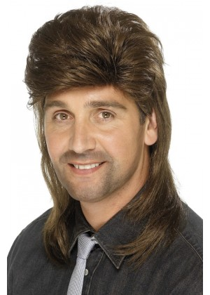 Brown Mullet Wig Fancy Dress Costume Accessory 70s 80s 80's Adult Mens Punk Fancy Dress Up Party