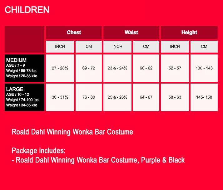 Childs Roald Dahl Winning Wonka Bar Costume Kids Charlie